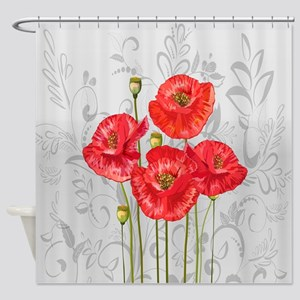 Four pretty red poppies Shower Curtain